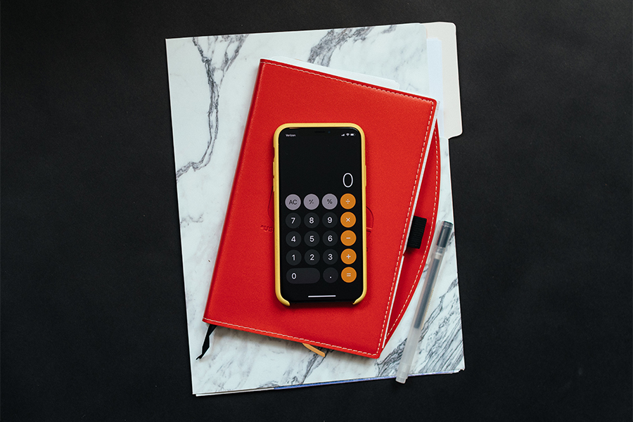 i phone calculator on a planner