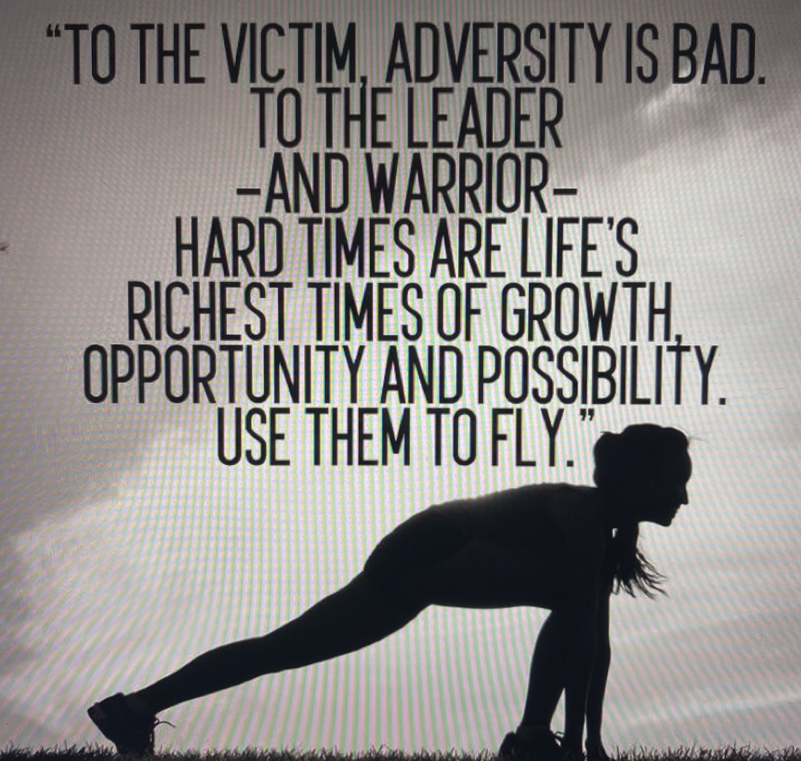 adversity quote with woman lunging
