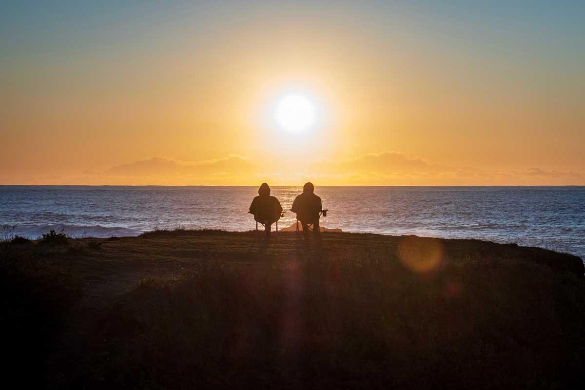 retirement couple on beach