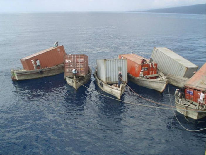 containers in water